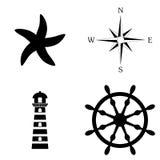 Marin- symbolsvektoruppsättning Arkivfoton