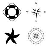 Marin- symbolsvektoruppsättning Arkivbild