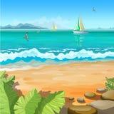 Marin- tropiskt landskap Royaltyfri Illustrationer