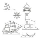 Marin- uppsättning för översikt, fyr och att segla vektor illustrationer