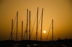 marina över solnedgång Arkivfoto