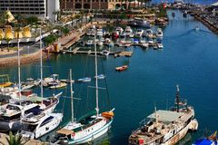 Marina. With Docked Yachts At The End Of The Day Stock Photography