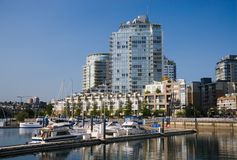 Marina. Apartment buildings and marina in Downtown Vancouver royalty free stock photography
