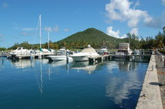 Marina. Boats docked in Marina.  Virgin Gorda.  British Virgin Islands Stock Photography