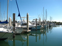 Marina. Yachts and sailboats lined up at marina Stock Photo