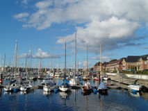 Marina. Yacht harbour with houses Royalty Free Stock Images