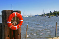 Marina. View from the pier to the Hudson River stock images