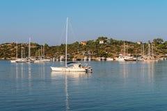 Marina at Aegean sea coast. Sithonia, Chalkidiki, Greece Stock Images