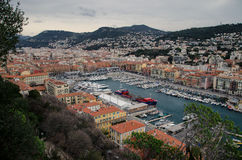 Marina aerial view of Nice, France. City center aerial view of Nice, France. Marina at the bottom surrounded by old town buildings Royalty Free Stock Photos