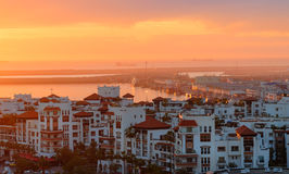 Marina in Agadir city at sunset, Morocco Stock Photo
