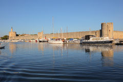 Marina in Aigues-Mortes, France. Marina in front of the city walls of Aigues-Mortes, southern France Royalty Free Stock Photo