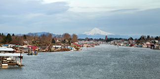Marina along Columbia River with Mouth Hood View Royalty Free Stock Photos