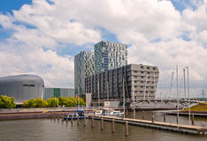 Marina amidst modern buildings, Holland Royalty Free Stock Photos