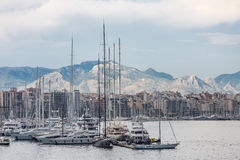 Marina and Apartments on Mallorca Coast. Luxury Yachts docked at Palma de Mallorca Spain Royalty Free Stock Images