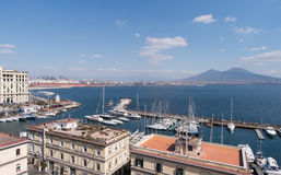 The Marina area with Mount Vesuvius in the background in Naples Stock Image