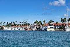 Marina of Aruba seen from seaside Stock Photos