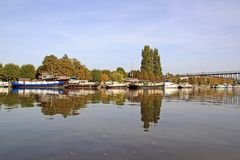 The marina of Auxerre Burgundy, France. Royalty Free Stock Photos
