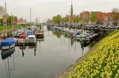 Marina av Veere i Zeeland i Nederländerna Royaltyfri Fotografi