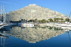 Marina Baie des Anges. Building and harbor at Villeneuve Loubet in France stock photography