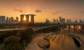 Marina Barrage Cidade do centro de Singapura na área de Marina Bay fotos de stock royalty free