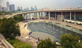 Marina Barrage. Water fountains at Marina Barrage visitor centre in Singapore stock photography