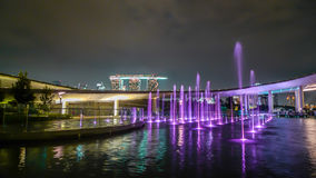 Marina Barrage Water Fountain Arkivbild