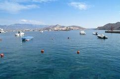 Marina of Baska, Croatia. Island Prvic in background royalty free stock photography