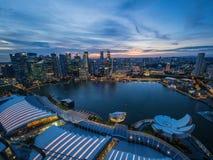 Marina Bay alla notte da Marina Bay Sands Fotografie Stock