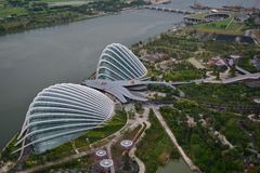 Marina Bay. Bird's eye view of Marina Barrage, Gardens by the Bay Royalty Free Stock Photos