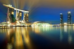 Marina Bay : Blue Hour Landscape Stock Images