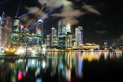Marina Bay Cityscape. The Marina Bay cityscape as viewed from the Marina Bay Sands Hotel and Integrated Resort Stock Photo