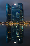 Marina Bay Financial Centre at night Stock Photo