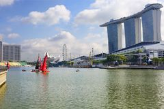Singapore, Marina Bay Promenade. Marina Bay is a Gulf of the sea, located in southern Singapore, East of the Central district and the business part of the city Stock Images