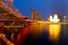 Marina Bay & Helix Bridge. SINGAPORE - AUGUST 30: Wonder Full light show at the Marina Bay waterfront Aug 30,2011 in Singapore. Wonder Full is the largest Royalty Free Stock Images