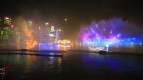 Marina bay light fog show, Singapore stock footage