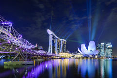 Marina Bay Lights Arkivfoto