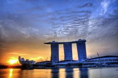 Marina Bay : Morning Landscape. An early morning photo of the Marina Bay Sands Hotel and Integrated Resort with the Singapore Arts and Science Museum Royalty Free Stock Photography