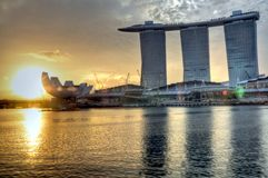 Marina Bay : Morning Landscape. An early morning photo of the Marina Bay Sands Hotel and Integrated Resort with the Singapore Arts and Science Museum Stock Images