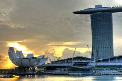 Marina Bay : Morning Landscape. An early morning photo of the Marina Bay Sands Hotel and Integrated Resort with the Singapore Arts and Science Museum Stock Image