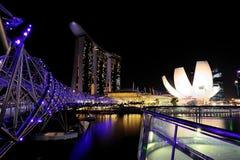 Marina Bay. At night Stock Photos