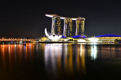 Marina Bay Night Scenes Stock Photos