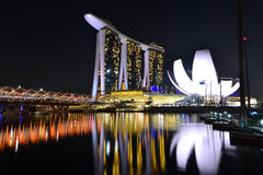 Marina Bay Night Scenes Royalty Free Stock Photography