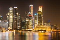 Marina Bay at night, Singapore. Building in Raffle Place and City hall near by Marina Bay at night, Singapore Stock Photography