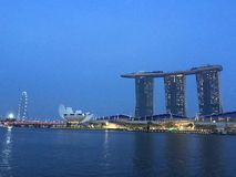 Marina Bay Night Skyline Stockfotos