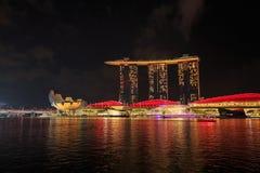 Marina bay at night, urban landscape of Singapore. View of marina bay at night, urban landscape of Singapore Royalty Free Stock Photo