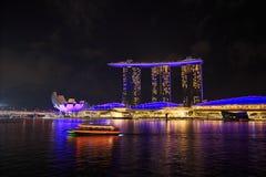 Marina bay at night, urban landscape of Singapore Royalty Free Stock Photography