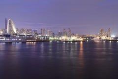 Marina bay at night in Yokohama City Royalty Free Stock Photo