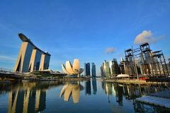 Marina Bay no tempo do dia, Singapura Imagens de Stock