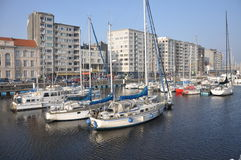Marina Bay Oostende Royaltyfri Bild