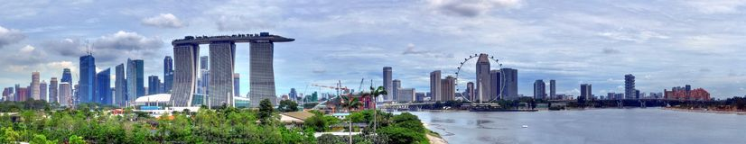 Marina Bay Panorama. A panoramic view of the Marina Bay landscape Royalty Free Stock Photography